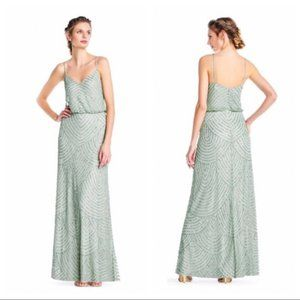 Adrianna Papell Art deco blouson beaded gown mint